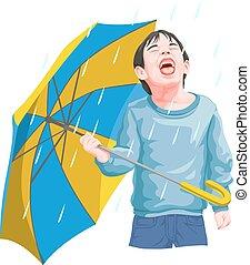 ベクトル, 男の子, 楽しむ, rainfall.