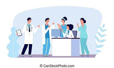 ベクトル, 病院, ミーティング, concept., チーム, 相談, 診断, characters., 医学, 医者