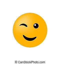 ベクトル, 白, まばたき, emoticon, 微笑, バックグラウンド。, 顔, 隔離された, アイコン