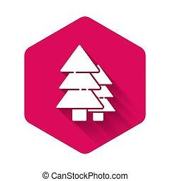 ベクトル, 白, シンボル。, イラスト, アイコン, shadow., 六角形, 長い間, 森林, 隔離された, ピンク, button., 木