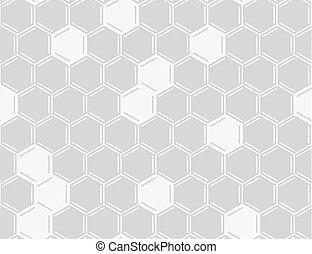 ベクトル, 白, ハチの巣, seamless, パターン, 上に, 灰色, バックグラウンド。, 櫛, seamless, パターン