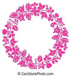 ベクトル, 白, フレーム, 花輪, パステル背景, 月桂樹
