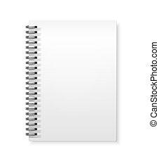 ベクトル, 白, mockup, ノート, copybook, らせん状に動きなさい, リング