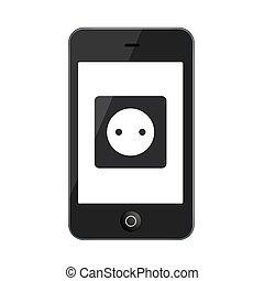 ベクトル, 白, smartphone, 現代, 隔離された