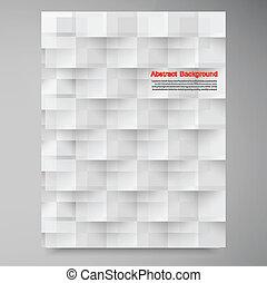 ベクトル, 白, squares., 抽象的, backround