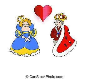 ベクトル, 皇族, イラスト, 女王, スタイル, 子供, 家族, 皇帝, 王, 女帝, 漫画
