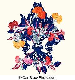 ベクトル, 皇族, デザイン, flowers.eps, ユリ