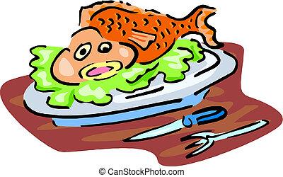 ベクトル, 皿, fish., 焼かれた