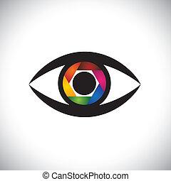 ベクトル, 目, 概念, カラフルである, シャッター, カメラ, アイコン