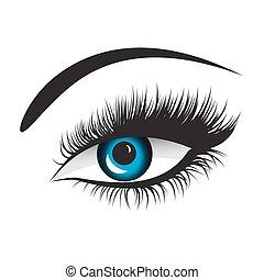 ベクトル, 目, 青, 激しく打つ, 長い間