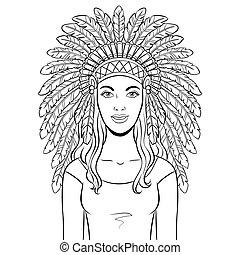 ベクトル, 着色, 女, indian, 頭飾り