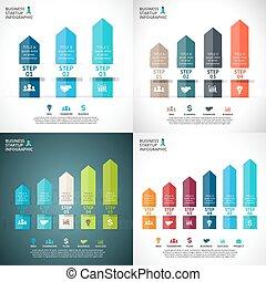 ベクトル, 矢, 概念, processes., ビジネス, infographic, グラフ, オプション, 3, 始動, チャート, 図, 5, 4, presentation., 6, ステップ, 部分