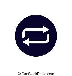 ベクトル, 矢, design., icon., 新たにしなさい, イラスト, 平ら, 更新