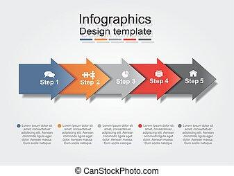 ベクトル, 矢, icons., infographic, テンプレート, レポート