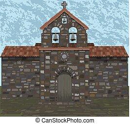 ベクトル, 石, visigothic, イラスト, 古代, 教会, style.