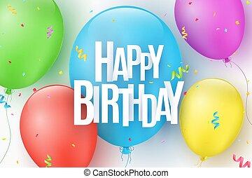 ベクトル, 碑文, ライト, card., カラフルである, 爆発, birthday, お祝い, 挨拶, イラスト, letters., バックグラウンド。, ペーパー, confetti., 風船, 幸せ