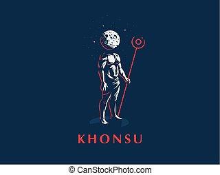 ベクトル, 神, エジプト人, emblem., khonsu.