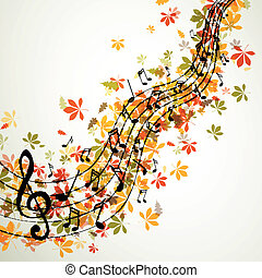 ベクトル, 秋, 音楽, 背景, ∥で∥, メモ