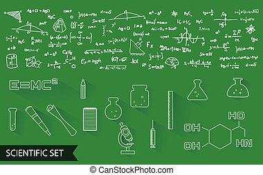 ベクトル, 科学, アイコン, そして, フォーミュラ, パターン