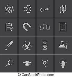 ベクトル, 科学, セット, 黒, アイコン