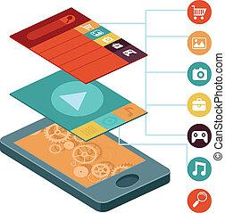 ベクトル, 移動式 電話, -, infographic, 要素