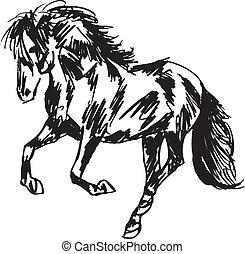 ベクトル, 種馬, sketch., イラスト