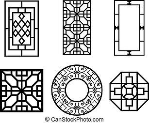 ベクトル, 窓, セット, パターン, 中国語
