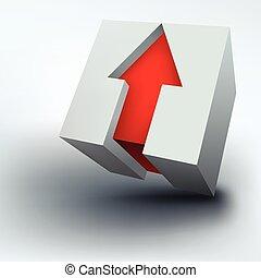 ベクトル, 立方体, 矢, イラスト, 3d