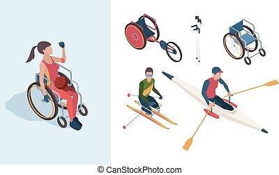 ベクトル, 等大, オリンピック, paralympic, 人々, 運動選手, ゲーム, 女性, 不具, characters., 夏, スポーツマン, マレ