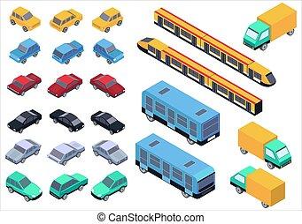 ベクトル, 等大, セット, バス, isolated., 列車, トラック, 自動車