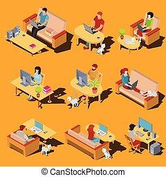 ベクトル, 等大, セット, 仕事, アイコン, ラップトップ, 男性, コンピュータ, home., 女性