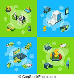ベクトル, 等大, 概念, セット, アイコン, お金, 流れ, イラスト, infographic, 銀行