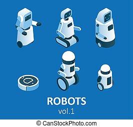 ベクトル, 等大, 現代, ロボット工学, セット, アイコン