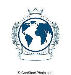 ベクトル, 紋章, 月桂樹, スタイル, 型, 花輪, 地球, リボン, crown., 惑星