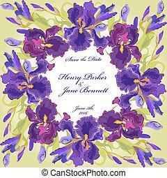 ベクトル, 結婚式, カード, 紫色の 花, イラスト, 花輪, アイリス, バックグラウンド。