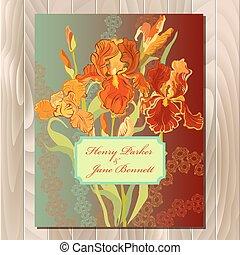 ベクトル, 結婚式, カード, 赤い花, イラスト, 花輪, アイリス, バックグラウンド。