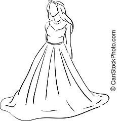 ベクトル, 結婚式, スケッチ, 服, 背景, 白, 色, イラスト