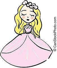 ベクトル, 結婚式 服, 女の子, 背景, ピンク, 漫画, 白, 単純である, ブロンド, イラスト