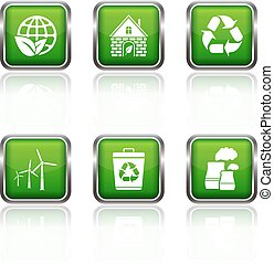 ベクトル, 網, エコロジー, アイコン, ボタン, セット