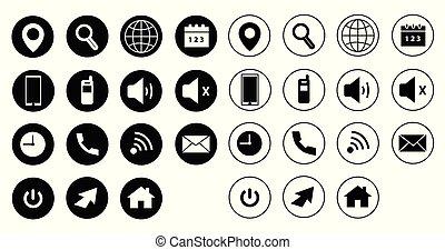 ベクトル, 網, セット, 黒, アイコン