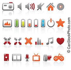 ベクトル, 網, ボタン, セット, マルチメディア