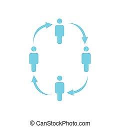 ベクトル, 網, 仕事, 人々, concept., arrows., 隔離された, イラスト, バックグラウンド。, 円, プレゼンテーション, ウェブサイト, 白, チーム, デザイン, apps, アイコン