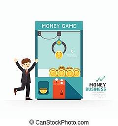 ベクトル, 網, 概念, infographic, 成功, ビジネス 実例, layout., いかに, ゲーム, ...