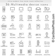 ベクトル, 網, 現代, アウトライン, アイコン, マルチメディア, 装置, apps., 線, ultra
