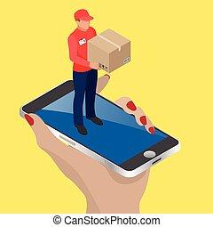 ベクトル, 網, 等大, 概念, 買い物, ビジネス, 平ら, モビール, 給料, concept., 食料雑貨, ...