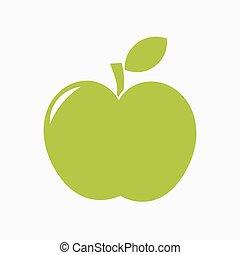 ベクトル, 緑のリンゴ, アイコン