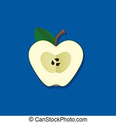 ベクトル, 緑のリンゴ, イラスト