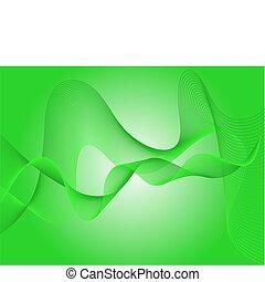 ベクトル, 緑の背景, 波