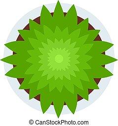 ベクトル, 緑, アイコン, 上, 平ら, 光景, 隔離された, 植物