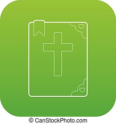 ベクトル, 緑, アイコン, 聖書